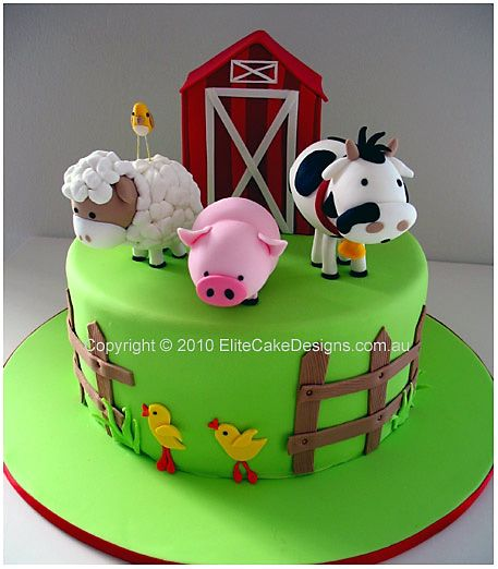 Outstanding Farm Animals Birthday Cake Animal Birthday Cakes Farm Cake 1St Funny Birthday Cards Online Sheoxdamsfinfo