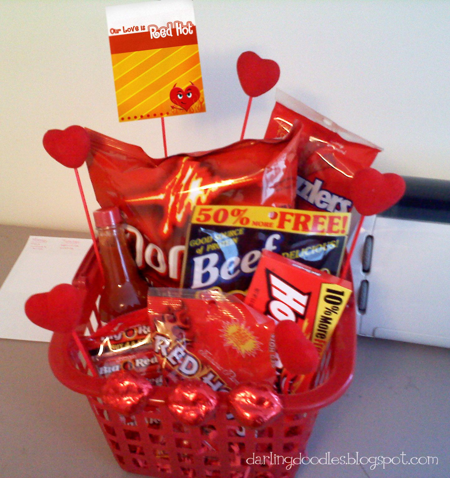 The red basket is from the dollar store as are the hearts on the