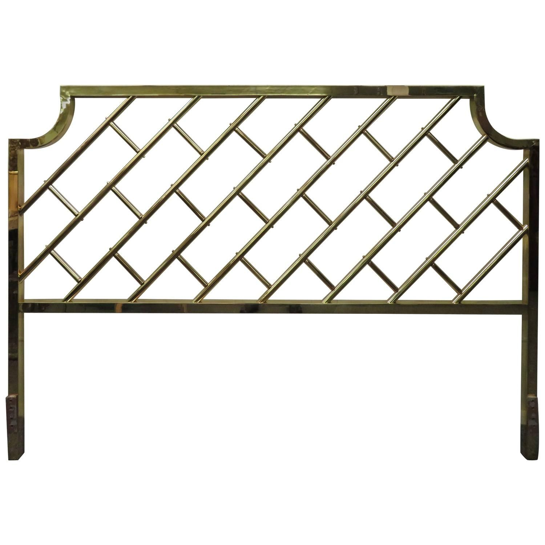 Fantastic Tall Brass Lattice Hollywood Regency King Size Headboard King Size Headboard Brass Bed Frame Bedroom Deco