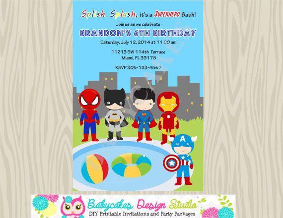 Superhero Pool Party Invitation Birthday Invitation by jcbabycakes - birthday invitation pool party