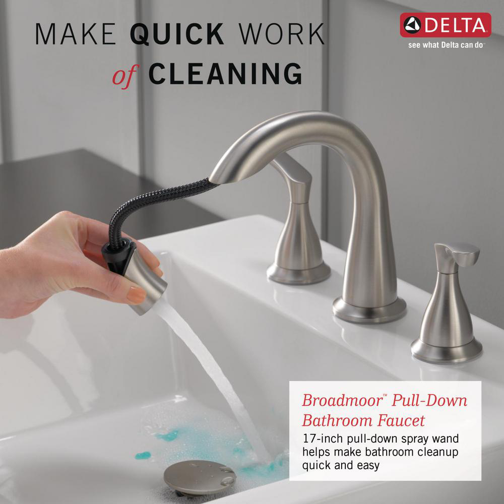 Delta Broadmoor 8 In Widespread 2 Handle Bathroom Faucet With Pull Down Spout In Spotshield Brushed Nickel 35765lf Sppd The Home Depot Bathroom Faucets Faucet Bathroom Faucets Brushed Nickel [ 1000 x 1000 Pixel ]