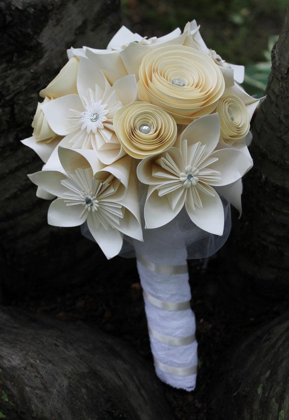 Origami and spiral bouquet paper bridal bouquet paper wedding origami bridal bouquet alternative wedding by everbloomsflowers 11000 mightylinksfo