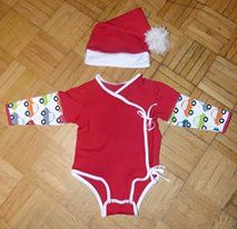 baby christmas outfit, hat and kimono bodysuit
