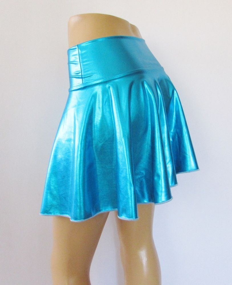 "Mermaid Skirt Teal Metallic Lycra Flare skirt 15"" Long #Zanza #FullSkirt"