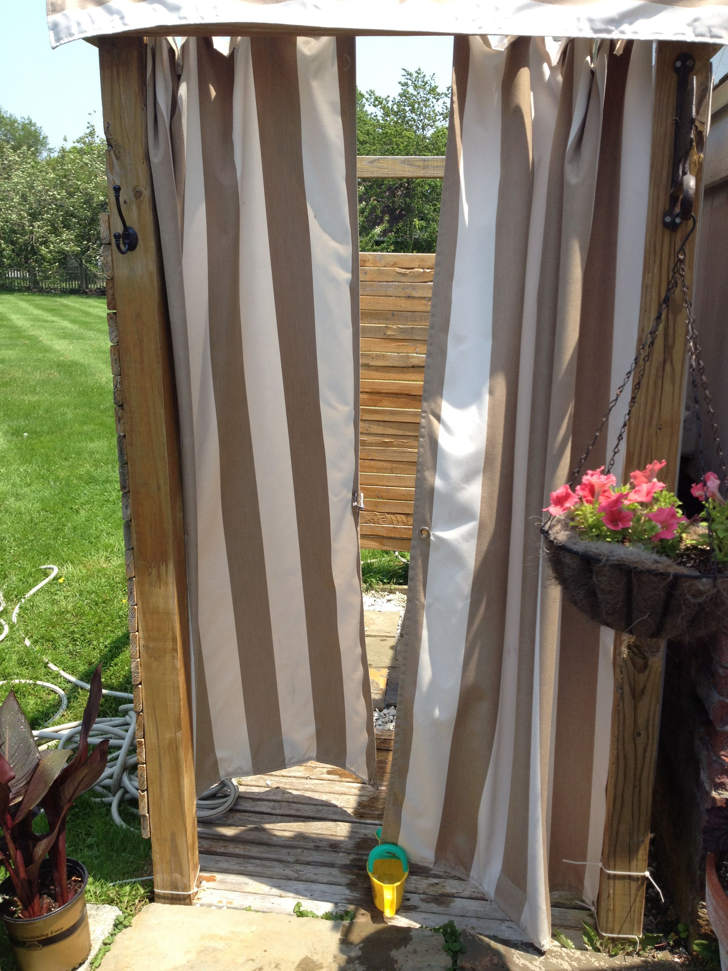 Outdoor Shower With Striped Curtain Outdoor Shower Shower