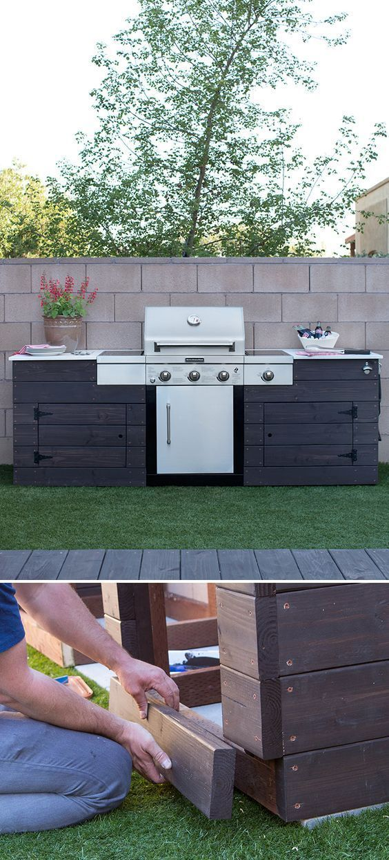 Low Maintenance Backyard Design Ideas The Home Depot Diy Grill Diy Outdoor Kitchen Custom Grill