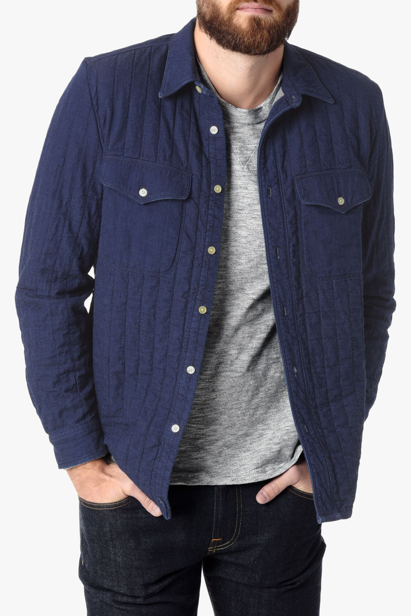 ab03f889b10f Men s Blue Quilted Denim Shirt Jacket In Indigo