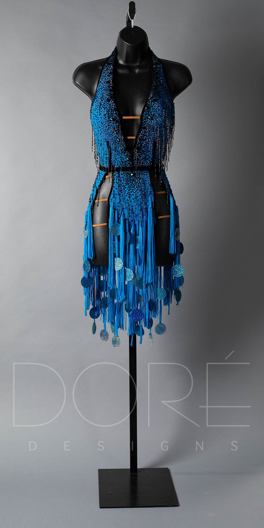 Electric blue rhythm with black velvet accents, black bf, and e blue fabric fringe with pailettes