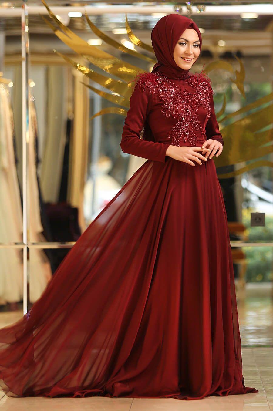 Minel Ask Tesettur Bordo Abiye Modelleri Moda Tesettur Giyim The Dress Kiyafet Giyim