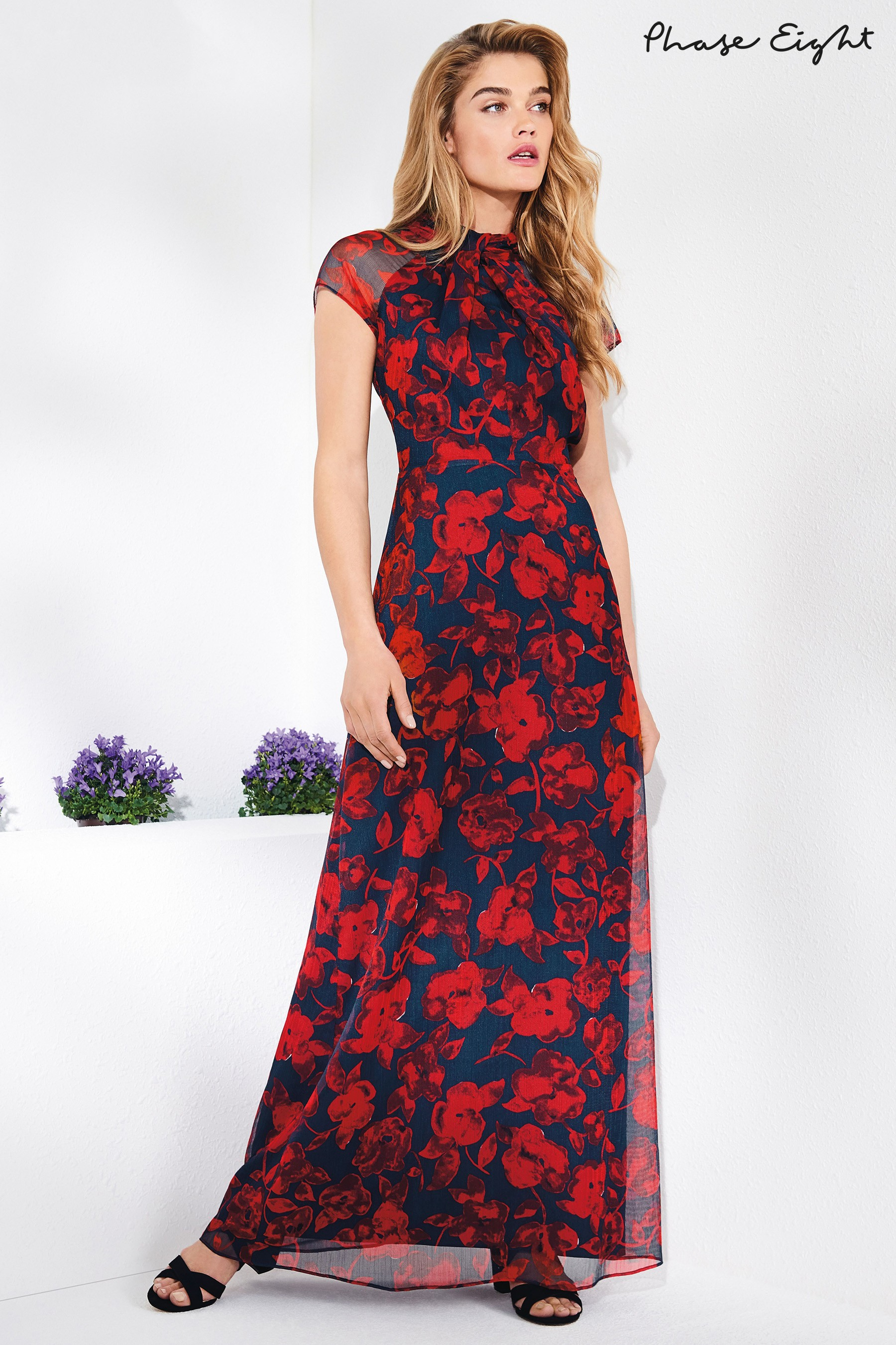 be50c1db48d Womens Phase Eight Scarlet Navy Fredrica Rose Print Maxi Dress - Red ...