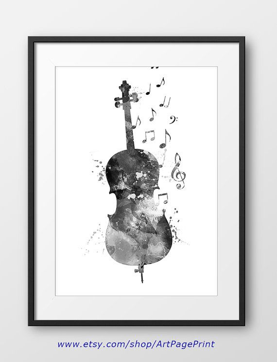 Cello black and white print no2 cello watercolor by artpageprint