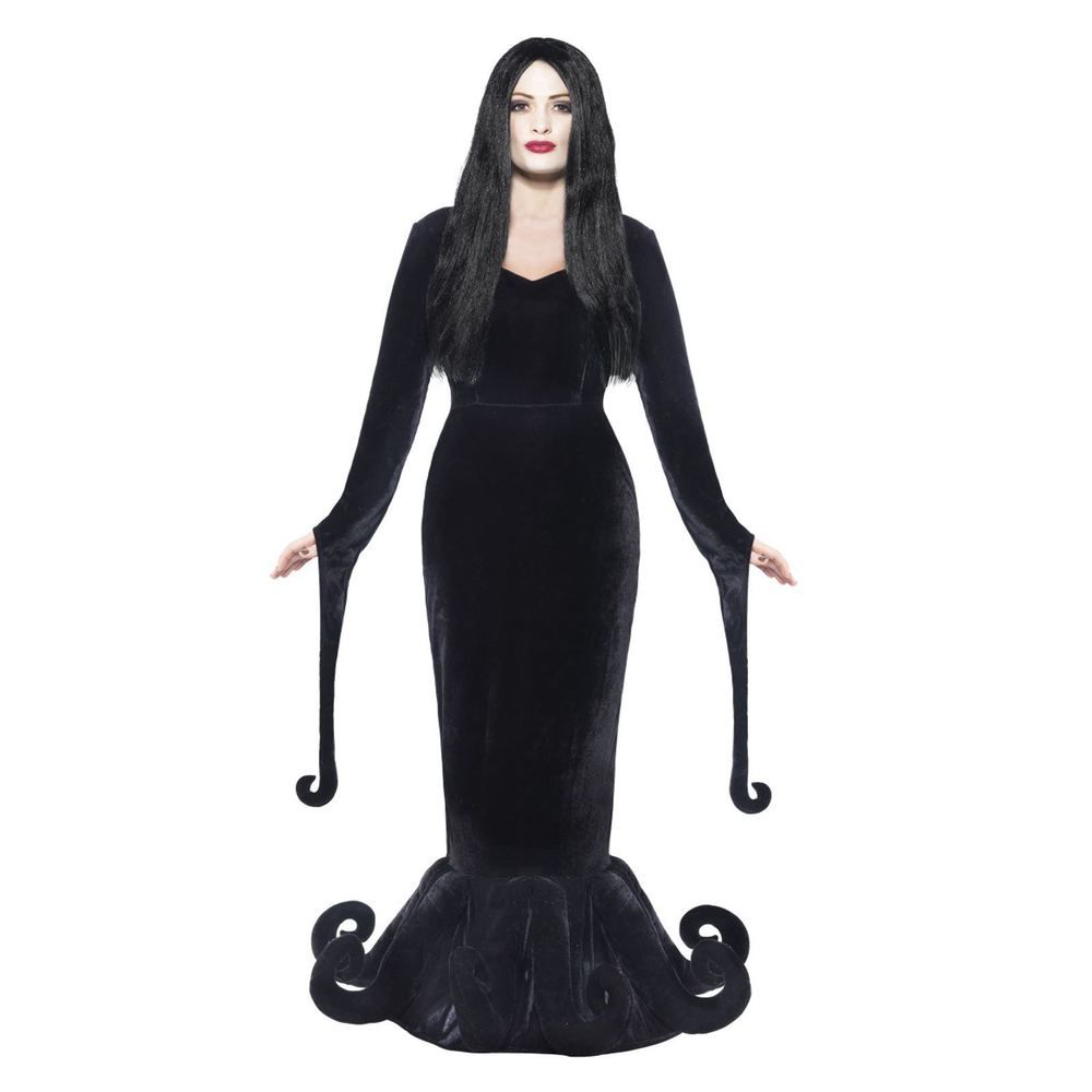 NEW Halloween Adult Long Black Wig Morticia Addams Witches Fancy Dress Costume