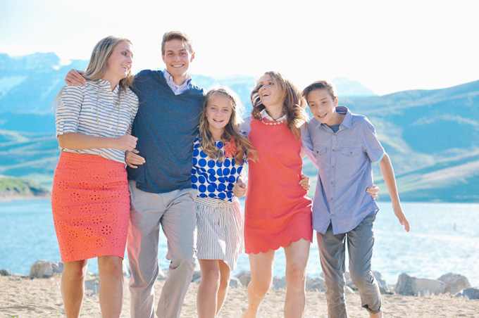 Corals, blues, and grays - Great color combo for family pictures.