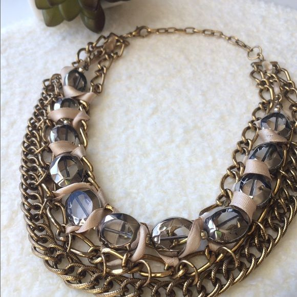 "Chunky mixed chain collar necklace 16"" L w/extender.     Burnished gold chains.  Satin beige ribbon weave.   Oval faceted tinted beads. Jewelry Necklaces"