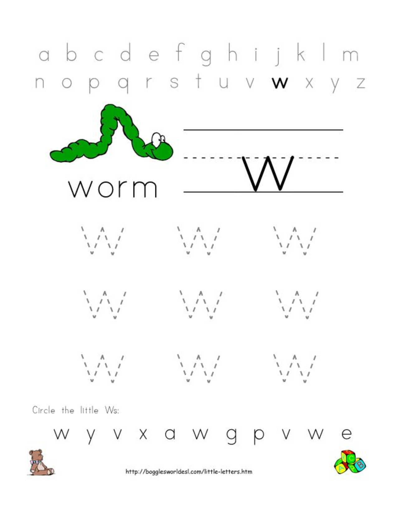alphabet worksheets for preschoolers alphabet worksheet little letter w doc preschool la. Black Bedroom Furniture Sets. Home Design Ideas