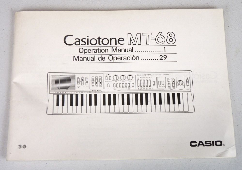 Casio Casiotone Mt Keyboard Operation Manual OwnerS UserS