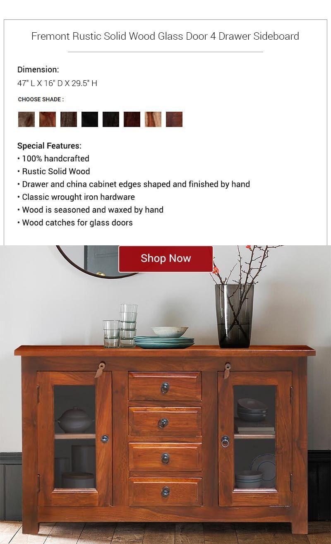 Fremont Solid Wood Glass Door 4 Drawer Rustic Sideboard Cabinet Wood Glass Door Rustic Sideboard Modern Kitchen Furniture