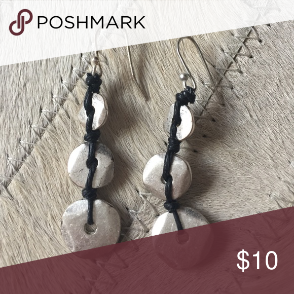 Graduated Silver and wax cording Earrings Graduated Silver and wax cording Earrings Jewelry Earrings