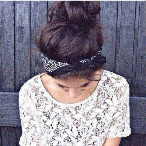 messy bun with bandana ☆