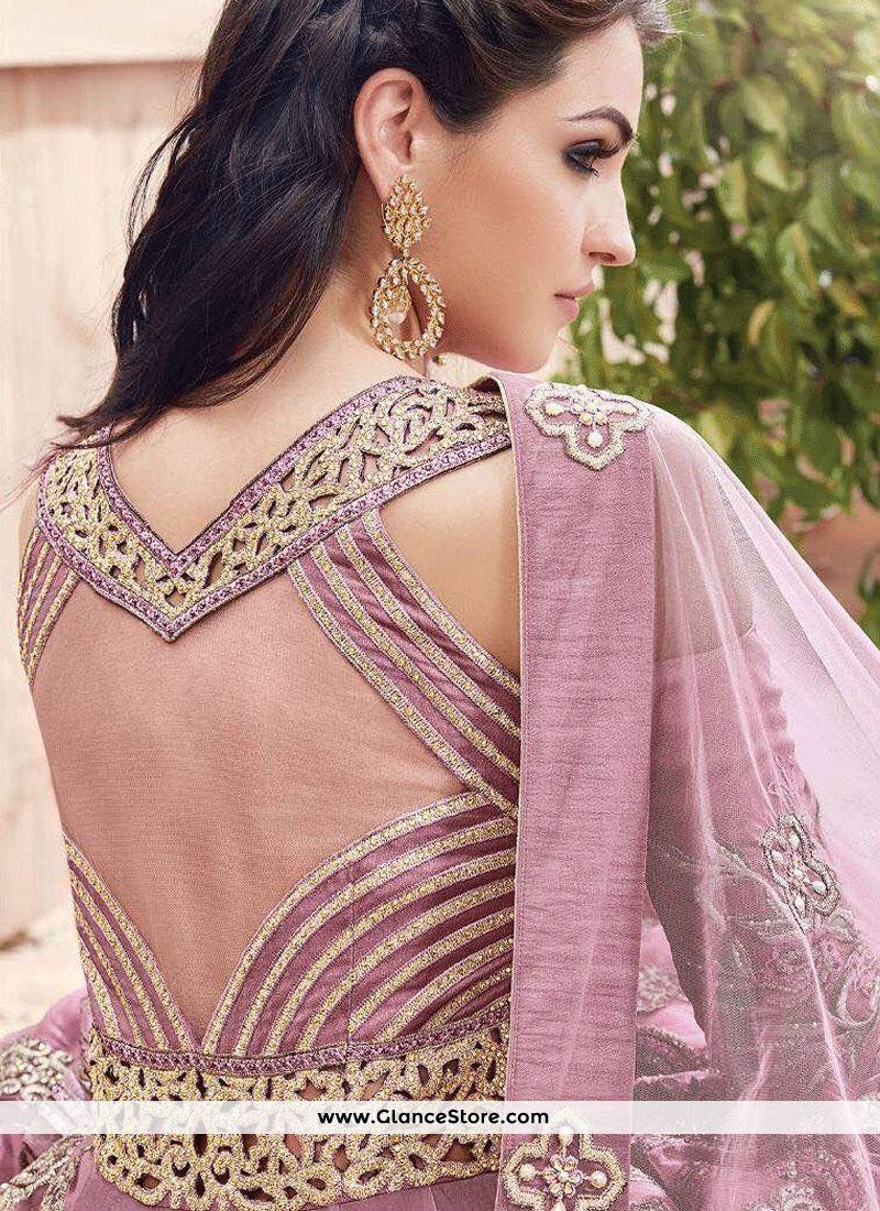 Outstanding Pink Embroidered Work Net Floor Length Anarkali Suit ...