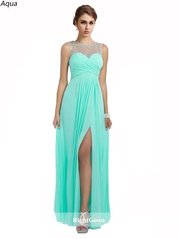 Trends We Love Illusion Neck Chiffon Long Sleeveless Aqua Prom ...