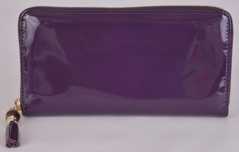 1547a0526c1 New Gucci 224253 Purple Patent Leather Zip Tassel Bamboo Pull Clutch Wallet   Gucci  Clutch