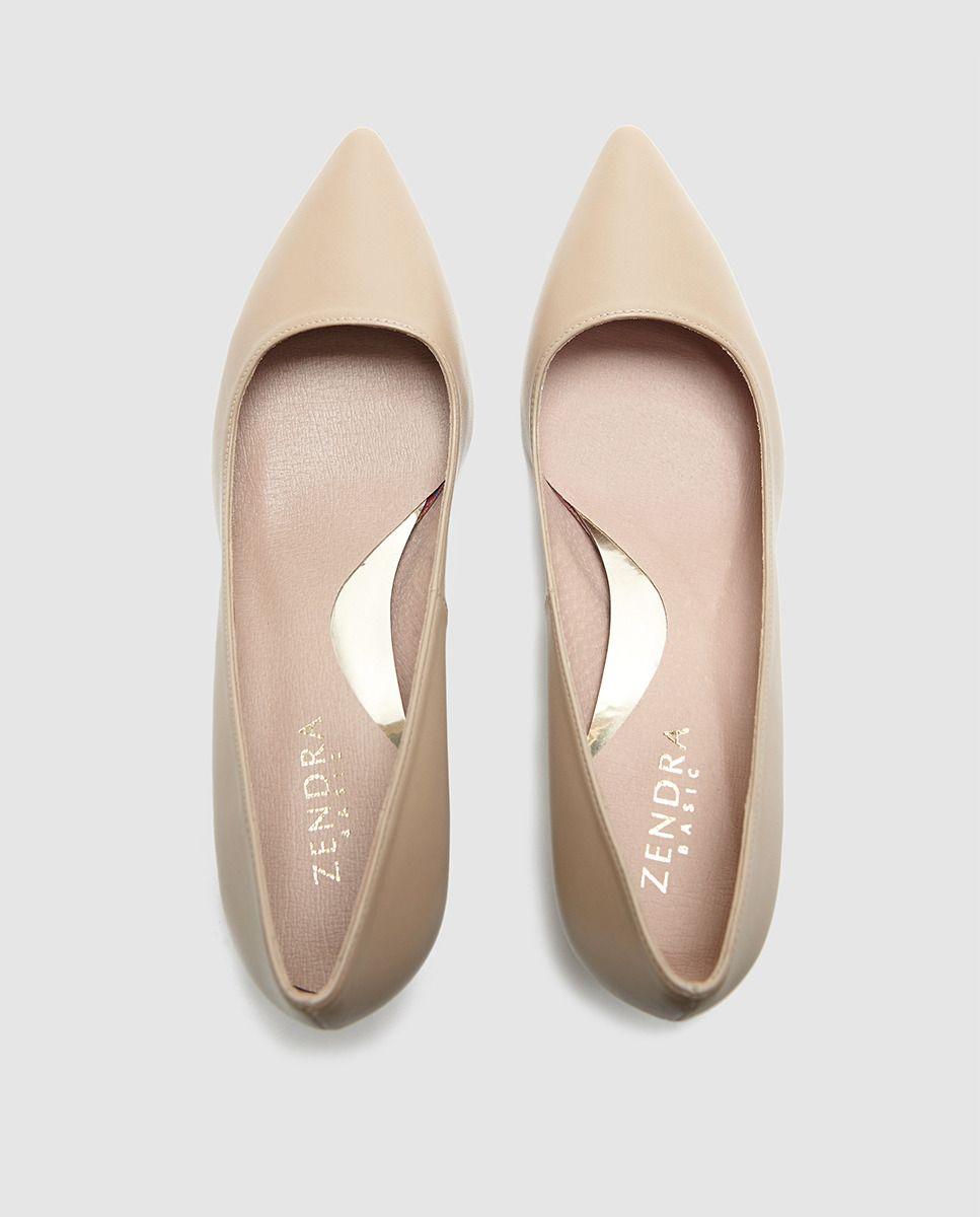Zapatos de salón de mujer Zendra Basic en natural de piel  5063844ba0c