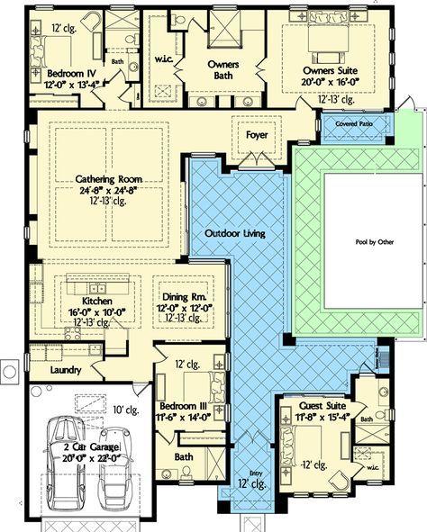 Plan 42834mj Florida House Plan With Wonderful Casita Florida House Plans Pool House Plans Courtyard House Plans