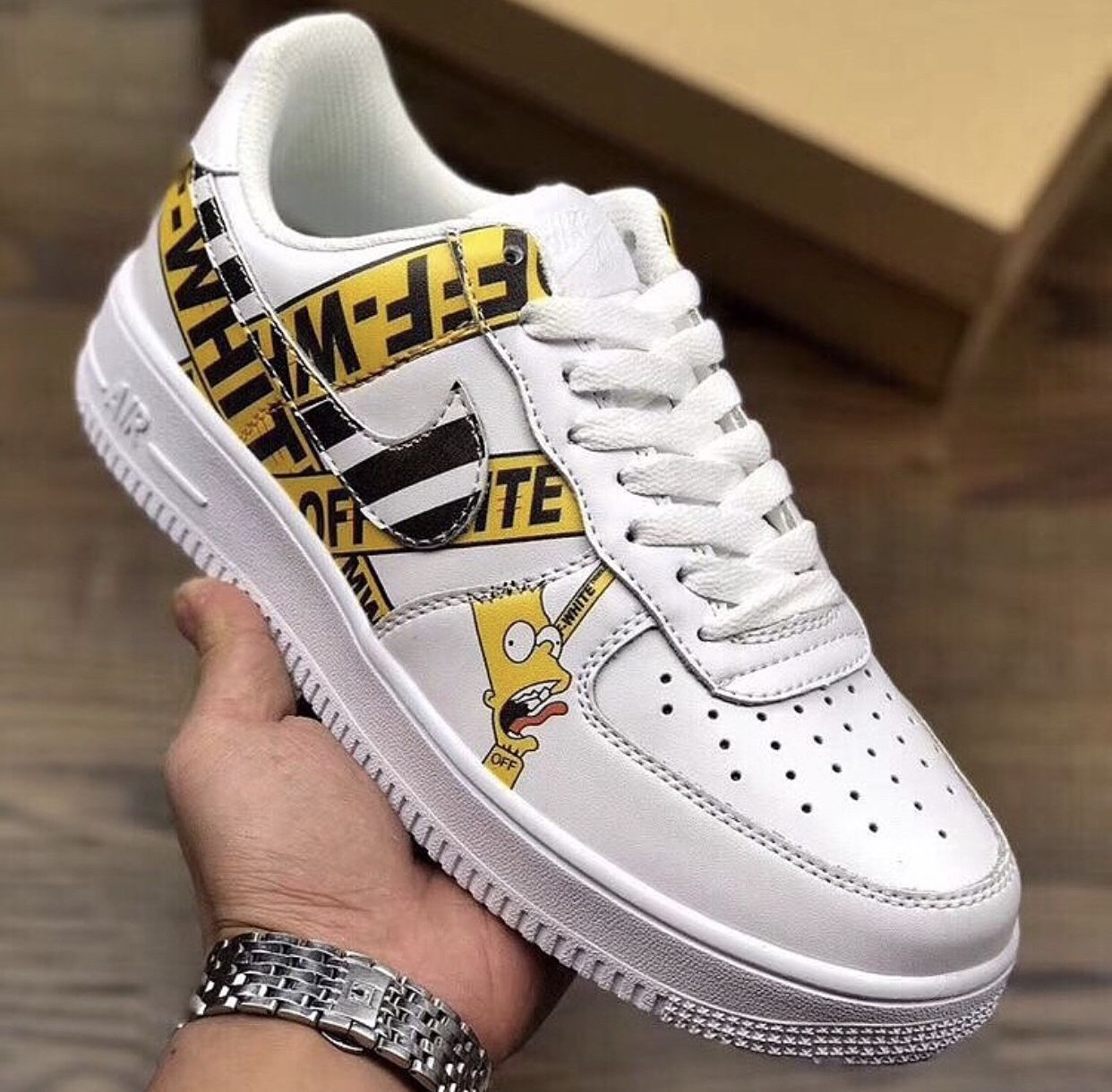 Custom Bart Simpson Off White Nike Air Force 1 low White
