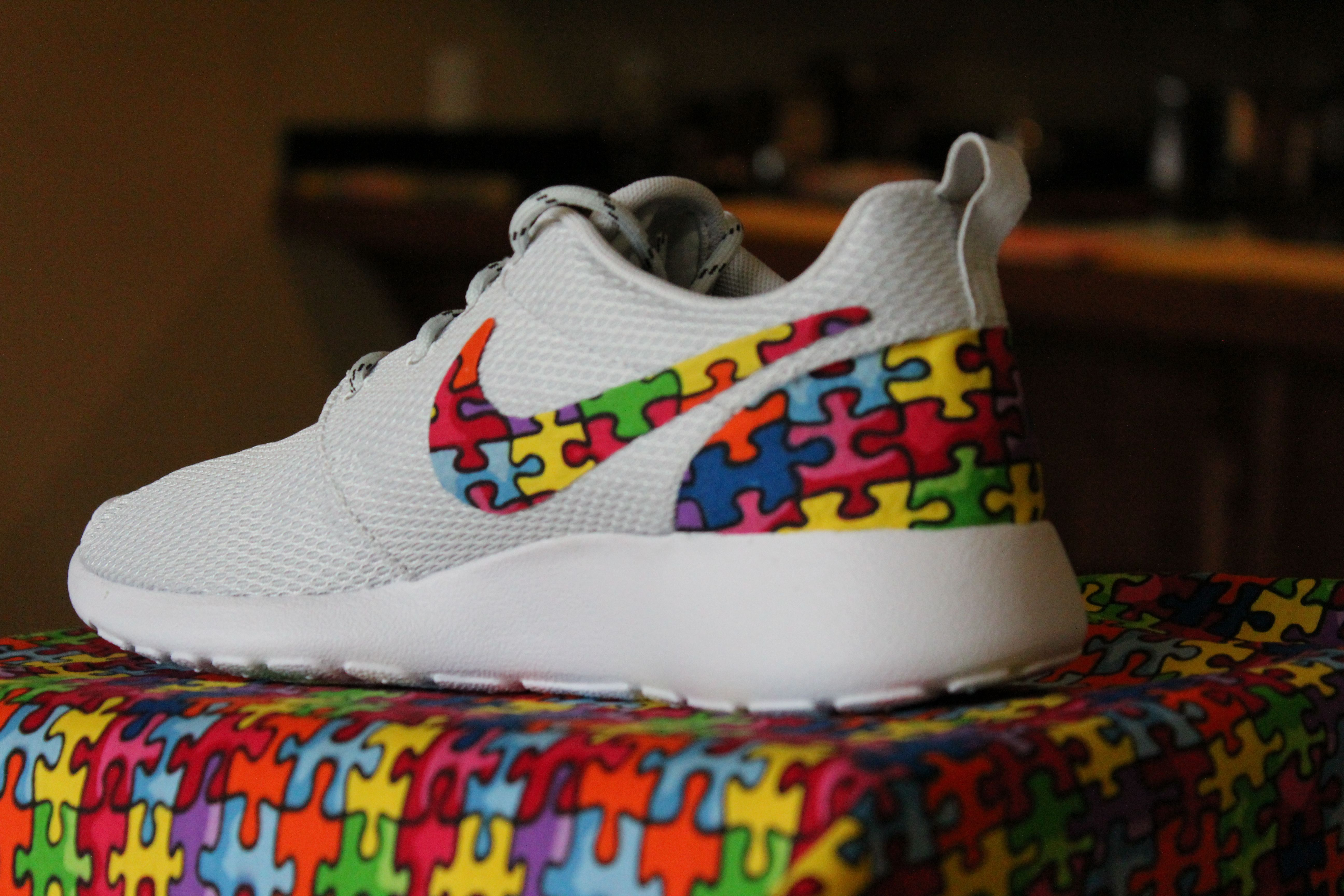 e6242b05fae7 Autism Speaks Custom Nike Roshe Run handmade shoes.