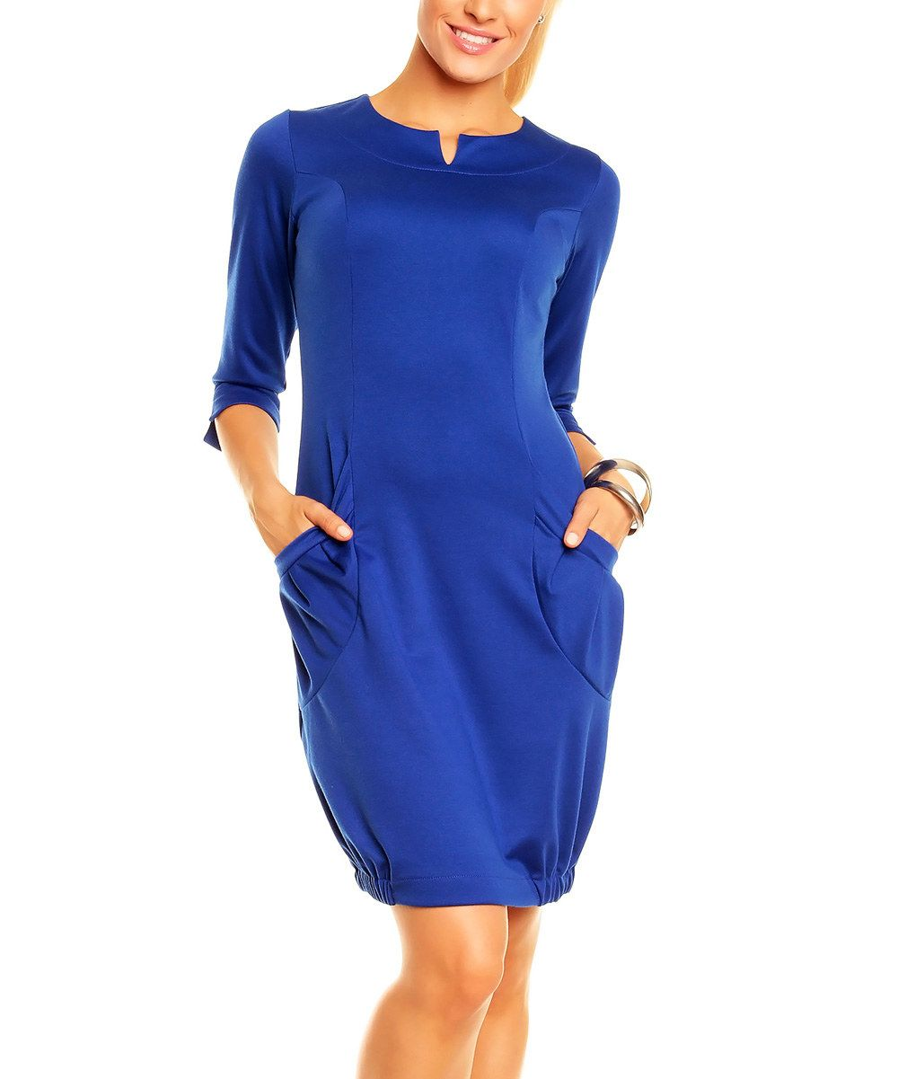 Look at this LENTAL Royal Blue Notch Neck Three-Quarter Sleeve Dress - Women & Plus on #zulily today!