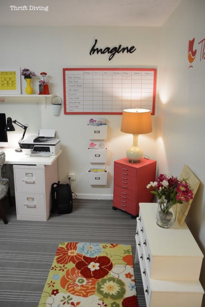 Before After My Pretty And Colorful Basement Office Makeover