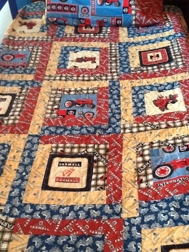 Tractor Quilt All International Or Farmall Material Tractor