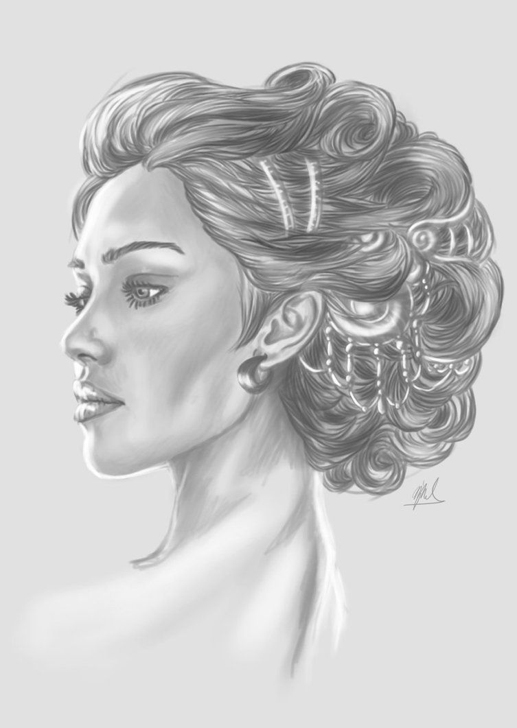 Portrait Drawing Of A Lady And Her Hair Ornaments If You Cant Half Tell By Now I Am Quite Fascinated By Hair Ornamen In 2020 Portrait Portrait Drawing Hair Ornaments