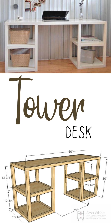 Parson Tower Desk Ana White In 2020 Diy Furniture Plans Diy Furniture Outdoor Furniture Plans