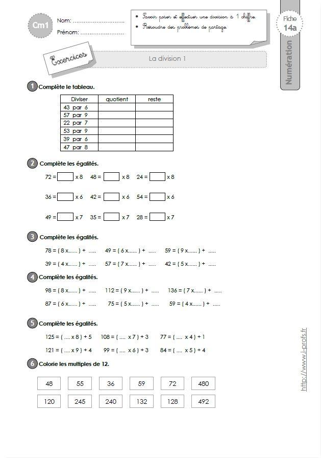 CM1: EXERCICES La division à 1 chiffre | Division cm1, Cm1, Exercice cm1