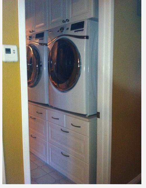 Washer Dryer Stand And A Made Of Ikea Drawers Cabinets Above The