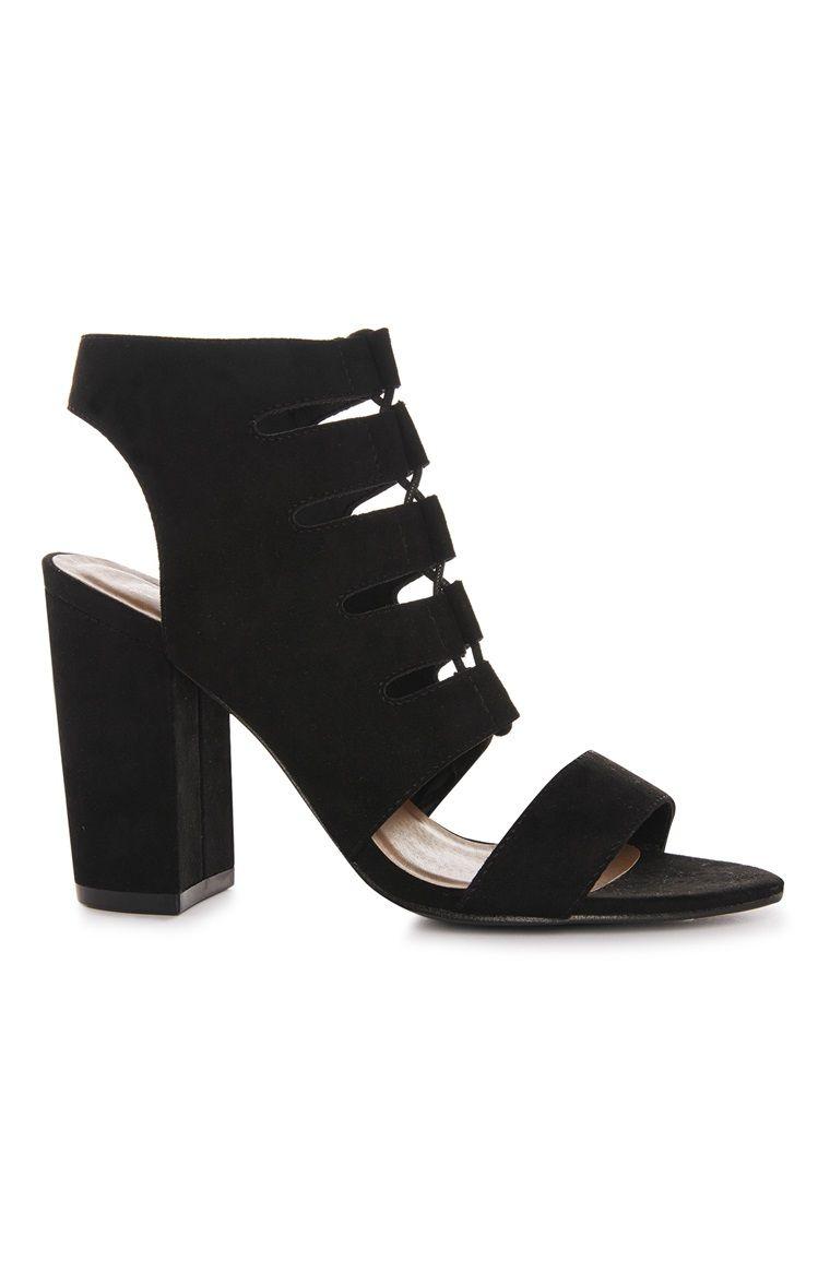 Black sandals primark - Primark Black Block Heel Cutout Shoe