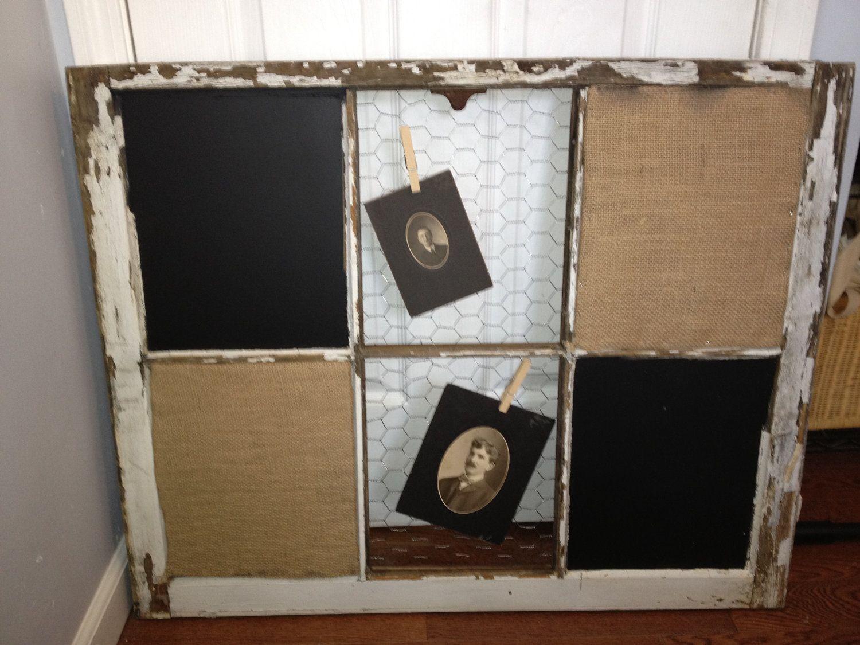 RECLAIMED Old Window - Custom - Chalkboard - MAGNETIC - Cork board ...