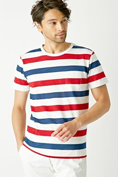 df22d0c68b [ikka]スラブPTボーダーTシャツ Red and White Striped shirt on Shopstyle.co.jp
