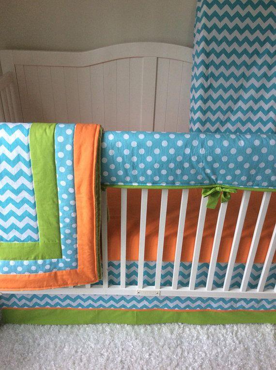 Baby Boy Cribs: Baby Boy Crib Bedding Orange Aqua Lime Green Chevron Polka
