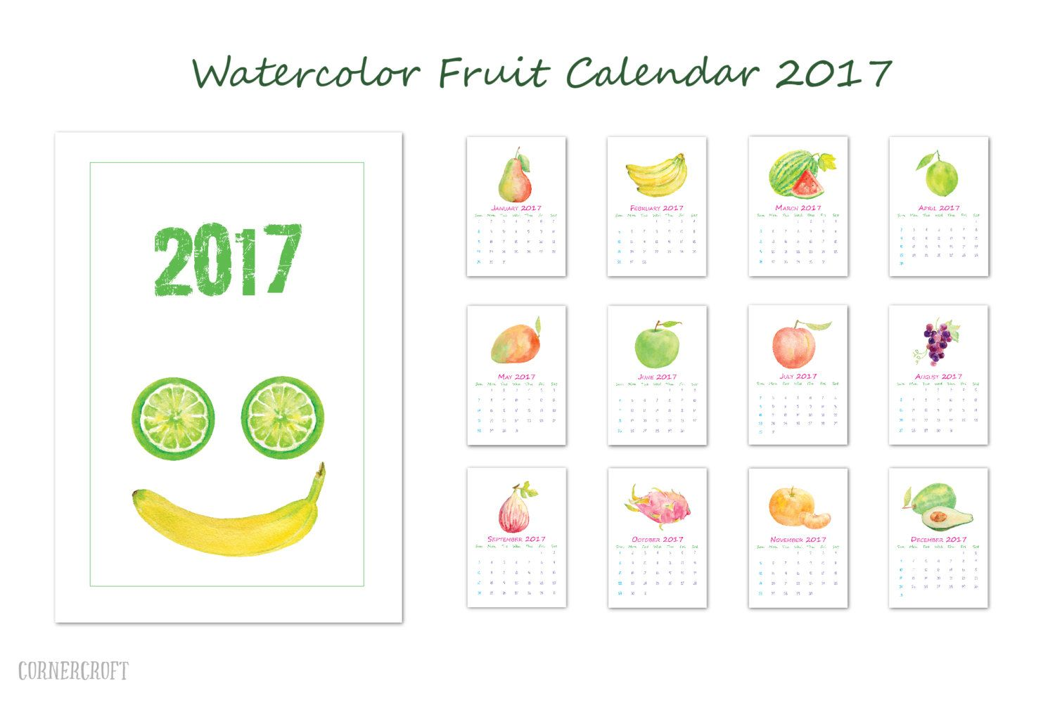 2017 Calendar printable - watercolor fruit monthly calendar - A4 digital  instant download scrapbook kitchen calendar by CornerCroft on Etsy