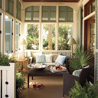 Screened porch with shutters