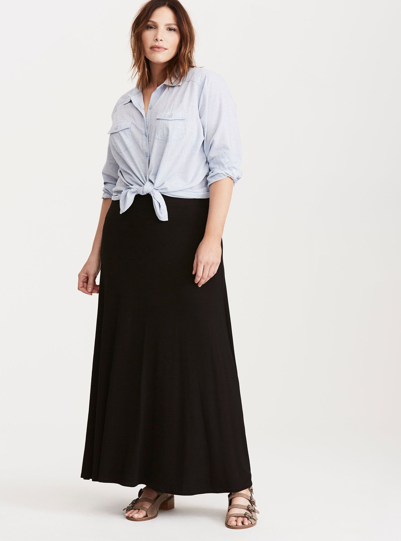 2b31dc885 A black knit maxi skirt is nonnegotiable in your closet - aka you need one  like now. This black jersey knit style is lightweight, with a sweeping  length ...