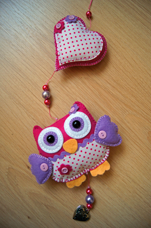 Handmade by JoHo - uiltjes vilt - kraamcadeau - owls felt (naam kan op hartje)
