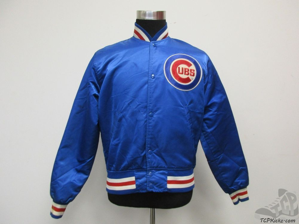 Vtg 80s Starter Chicago Cubs SATIN SNAP Up Dugout Jacket sz M ...