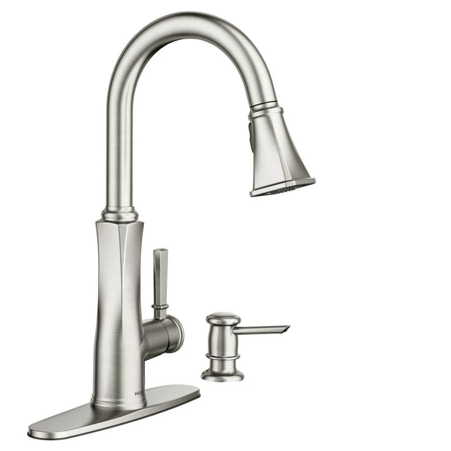 Moen Lizzy Spot Resist Stainless 1-Handle Pull-Down Kitchen Faucet ...