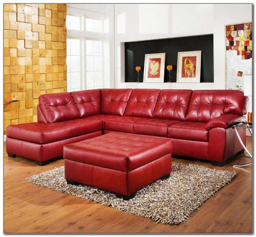 Red Faux Leather Sectional Sofa, Red Faux Leather Sofa And Loveseat