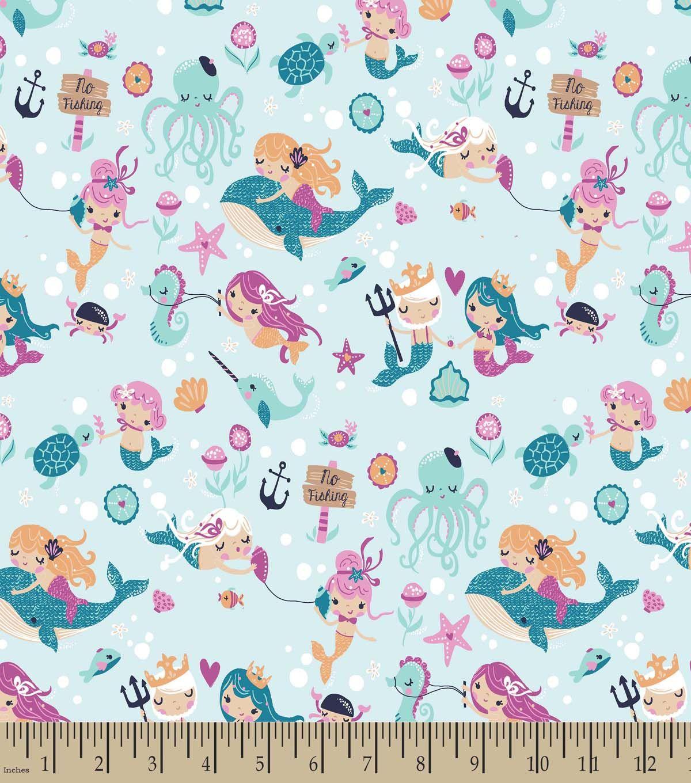 Pretty Mermaids Print Fabric Pretty Mermaids Mermaid
