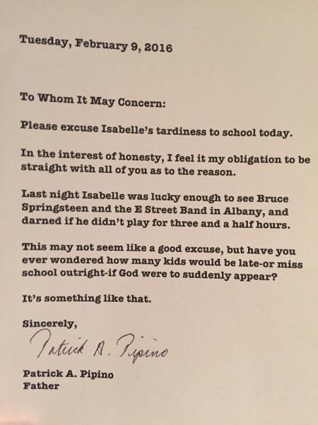 Local Dad Writes Letter To School Saying Bruce Springsteen Is To
